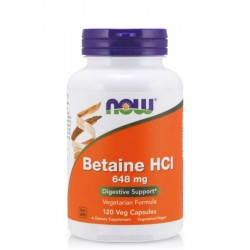 NOW FOODS BETAINE HCL (СОЛНА КИСЕЛИНА) 648 мг. 120 капс.
