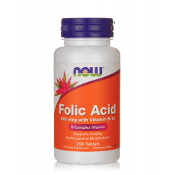 NOW FOODS FOLIC ACID 800 мкг. (with Vitamin B-12) 250 табл.