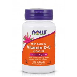 NOW FOODS VITAMIN D-3 2000 IU 120 драж.