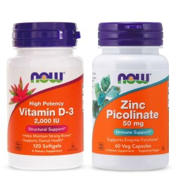 NOW FOODS ZINC PICOLINATE 50 мг. 60 капс. + NOW FOODS VITAMIN D-3 2000 IU 120 капс.